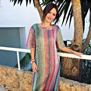 ZARA RAINBOW SEQUIN DRESS